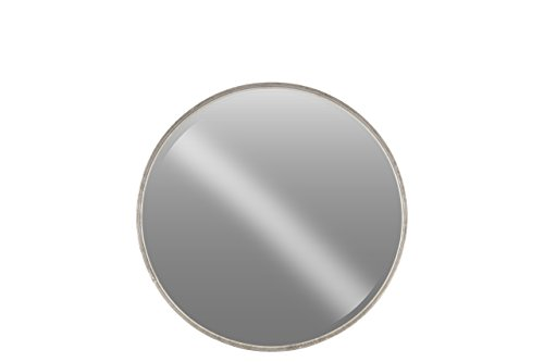 Urban Trends Metal Round Wall Mirror in Tarnished Finish, Medium, Antique Silver (Silver Round Mirror)