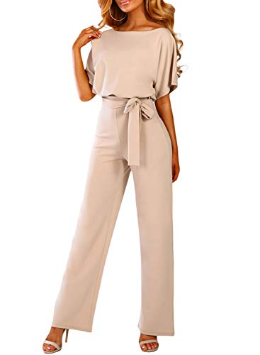CANIKAT Womens Casual Solid Short Sleeve Tie Front Belted Jumpsuit Slash Boat Round Neck Long Pants Romper Playsuit Apricot L