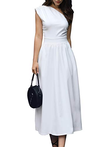 GAMISOTE Womens One Shoulder Dress Elegant Summer Sexy Formal Evening A Line Midi Dresses White