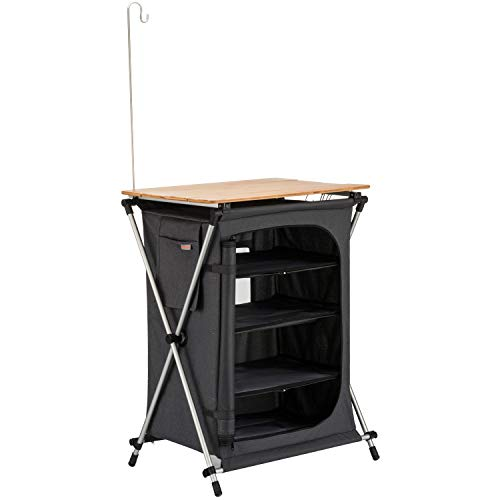 (KingCamp Storage Cabinet Collapsible Cook Prep Station Bamboo Desktop Aluminum Frame Foldable Ultralight Portable Compact Easy Transport for Camping Outdoor Picnic Vacation)