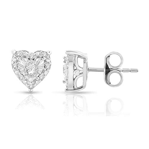 Sterling Silver Best Selling Halo Diamond Earrings 1/4ctw Pair or 1/8ctw Single Princess or Round (1/4ctw Pair White Heart)