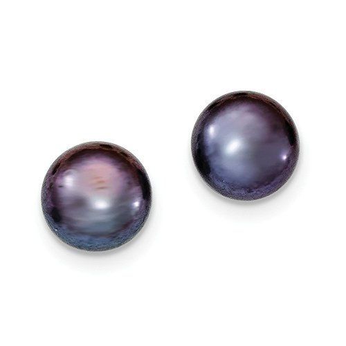 Sterling Silver 10-11mm FW Cultured Button Pearl Black Stud Earrings