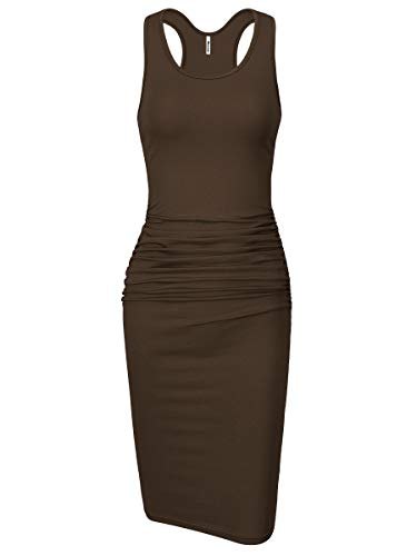 - Missufe Women's Sleeveless Racerback Tank Ruched Bodycon Sundress Midi Fitted Casual Dress (Brown, Small)