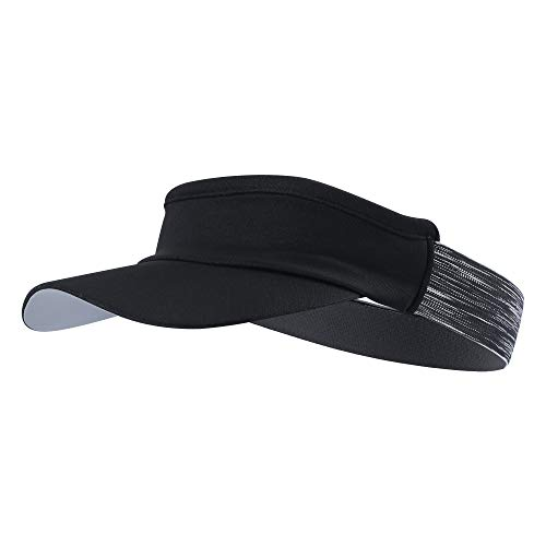 TEFITI Sports Fitness Sun Visor Moisture Wicking Cap Hats for Golf, Tennis, Cycling, Running & Hiking (Black) ()