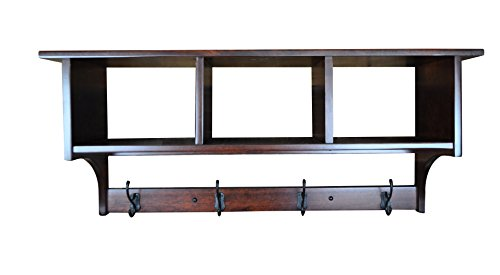 Wood Cubby Coat Rack Shelf Wall Mounted, Shaker, 4 Hook, Rustic Cherry Wood, Rich Cherry Stain