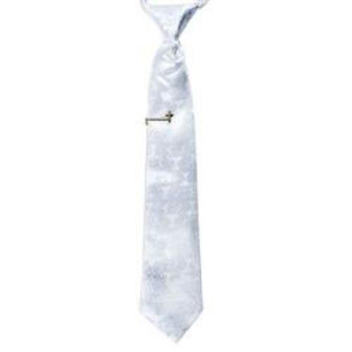 2 Piece White Communion Tie and Tie Bar Gift -