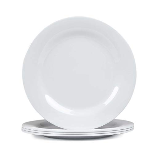 Melamine Dishes set - 9inch 4pcs Dinner and Salad Plates set for Everyday Eating, Break-resistant and Lightweight, ()