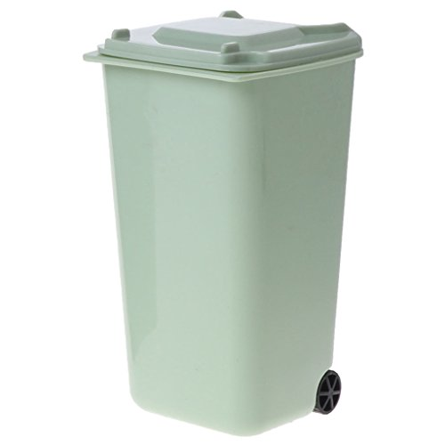 Dabixx Mini Wheelie Trash Can Pen Holder Storage Bin Desktop Organizer Garbage Bucket - Green ()
