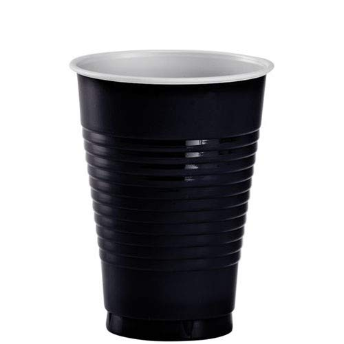 JF World Jet Black Plastic Cups 12oz 50ct