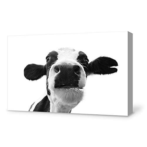 SIGNFORD Canvas Wall Art Humor Cow Canvas Painting Wall Poster Decor for Living Room Framed Home Decorations - 16x24 inches