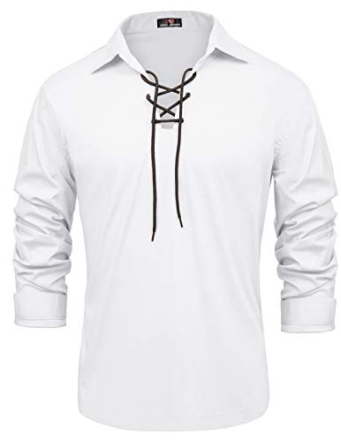 (Men's Medieval Pirate Lace Up Shirt Renaissance Costume Shirt Tops White S)