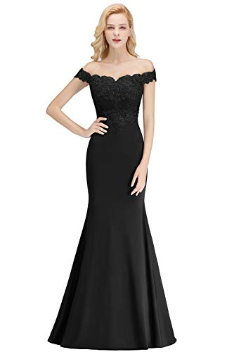 Womens Elegant Off Shoulder Lace Appliqués Formal Mermaid Evening Gowns,Black,4