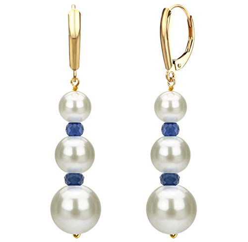 Graduated Freshwater Cultured White Pearl and Simulated Blue Sapphire Lever-back Earrings in 14k Yellow Gold