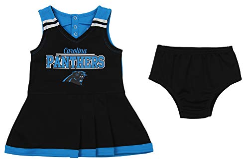 Outerstuff NFL Toddler Girls Team Color Cheerleader Dress Set, Carolina Panthers 4T