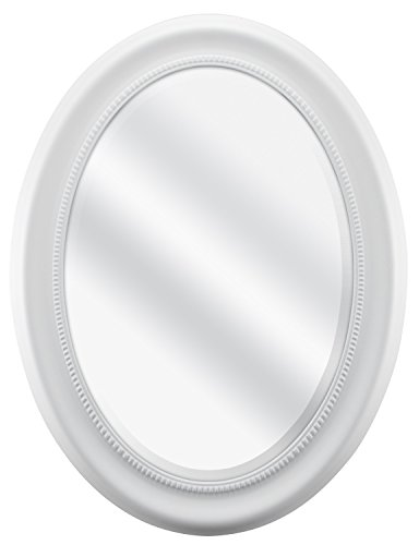 MCS Beaded Oval Wall Mirror, 22.5 x 29.5 Inch Overall Size, White -