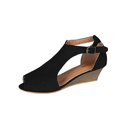 Women's Cutout Belt Wedge Sandals Fish Mouth Platform Sandals Summer Open Toe Sandals(Black-Lable 34/3.5 B(M) US Women)