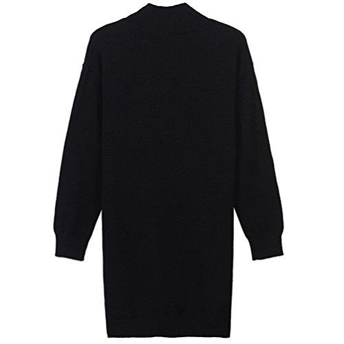 Automne Zip Longue Cou Ronde Robe Pulls Femmes de Manches YiLianDa Pullover Noir Lache Casual Longues xgRvpwq