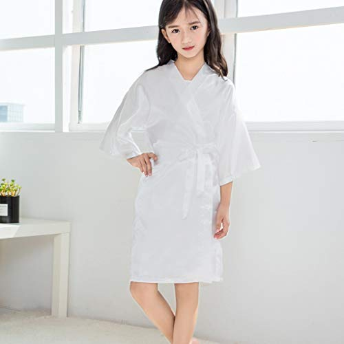 Clothful???????????? , Toddler Baby Kids Girls Solid Silk Satin Kimono Robes Bathrobe Sleepwear Clothes White by Clothful (Image #3)
