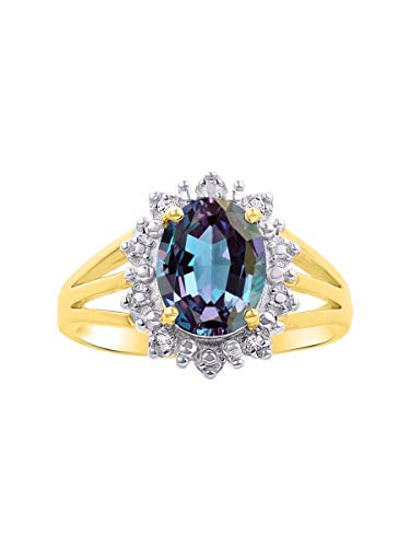 Diamond & Simulated Alexandrite Ring Set in 14K Yellow Gold Plated or Sterling Silver .925 Halo Princess Diana Inspired Designer Stylish June Birthstone Color Stone