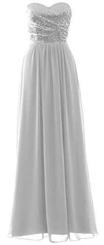 Formal Sequin Elegant Gown Dress White Strapless Long Silver Chiffon Bridesmaid MACloth Party n8WUqHU