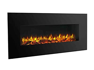 "PuraFlame 50"" Serena Wall Mounted Flat Panel Electric Fireplace with Remote Control, 1500W, Black"