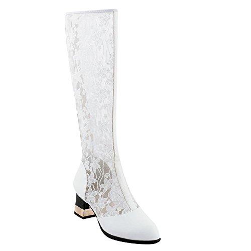Mee Shoes Women's Charm Block Heel Summer Boots White