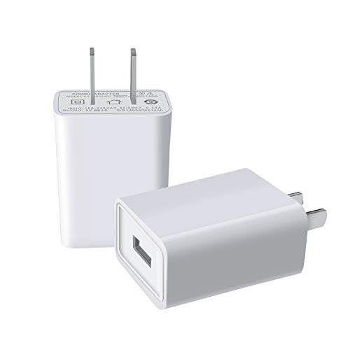 FOBSUNLAND USB Wall Charger USB Wall Plug 5V 2A AC Power Adapter Compatible with iPhone,iPad,Samsung,Huawei,Tablet,Kindle and More (White 2pack) (2a Source 5v Usb Power)