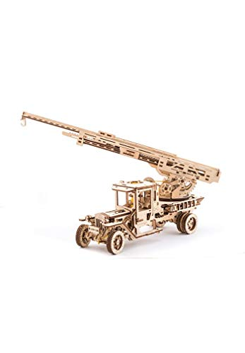 UGEARS Wooden 3D Fire Truck Model Kit - Lever Operated Rotatable Retractable Ladder]()