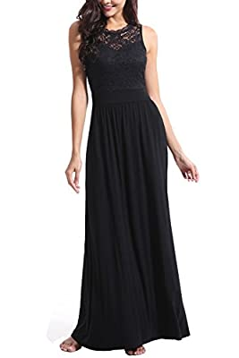 Zattcas Womens Casual Sleeveless Vintage Floral Lace Party Bridesmaid Wedding Maxi Dress …