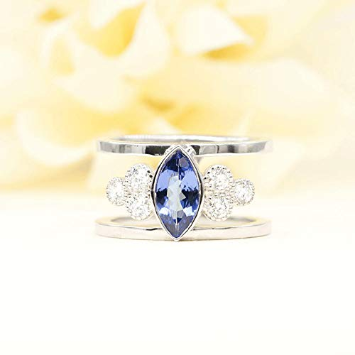 (Marquise Tanzanite with Diamond Cluster Engagement Ring, Unique Bridal Ring in 14k Solid Rose gold, White gold, and Yellow gold)