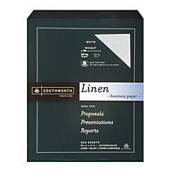 Southworth 25% Cotton Business Paper, 8.5 x 11, 24 lb, Linen Finish, White, 500 Sheets (554C)