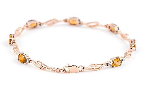 QP joailliers naturel Diamant et Citrine Bracelet en or rose 9carats, 3,38CT Coupe ovale-4279r