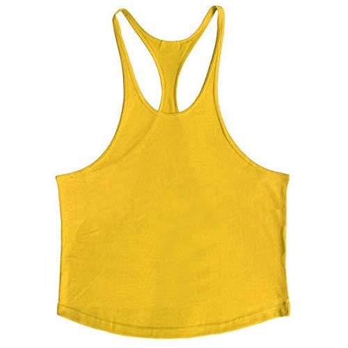 Bodybuilding Stringer Tank Tops Men Vest Solid Color Fitness Men Vest Sleeveless Shirt,Yellow,L