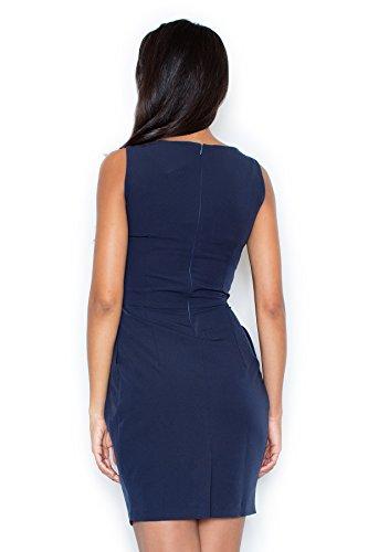 con Blu maniche Mare drappeggiature elegante con Abito asimmetriche Figl qRI07