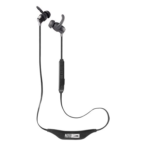 (Altec Lansing MZW101-BLK Bluetooth Earphones, Waterproof in-Ear Earbuds, Boasting Up to 6 Hours of Battery Life, USB Charge Cable Included, On-Board Microphone, 33-Ft Wireless Range, Red)