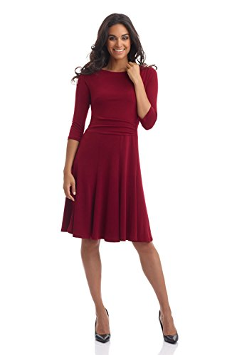 Shirred Dress Knit (Rekucci Women's Flippy Fit N' Flare Dress with 3/4 Sleeves (4,Burgundy))