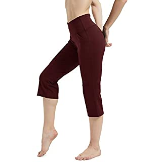 Rataves Women's Yoga Crop Pant 7/8 Workout Yoga Capris Leggings Sleek Fit High Waisted Yoga Pants 4 Way Stretch Tummy Control Leggings for Women L Burgandy