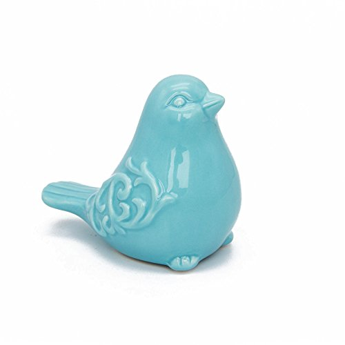 Saideke Home Blue Glazed Small Ceramic Chubby Bird Figure Ornaments,Animal Model Gift for Home Garden Statue Decorative Crafts]()