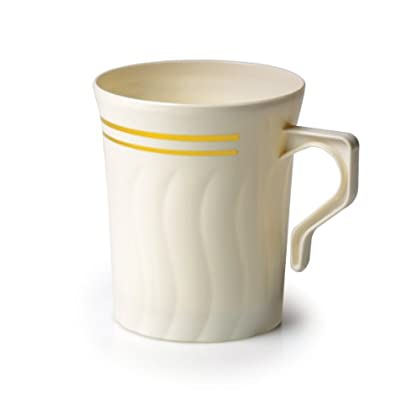Image of Coffee Mugs Fineline Settings Silver Splendor Bone China-Like 8 oz. Coffee Mug 120 Pieces
