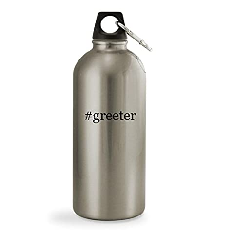 #greeter - 20oz Hashtag Silver Sturdy Stainless Steel Water Bottle with Small Mouth (Plush Porch Greeter)