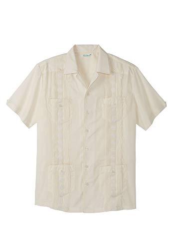 KS Island Men's Big & Tall Short-Sleeve Guayabera Shirt, Cream ()