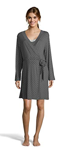 (Lamaze Womens Maternity Nursing V-Neck Nightgown Matching Belted Robe Set Graphite X-Large)