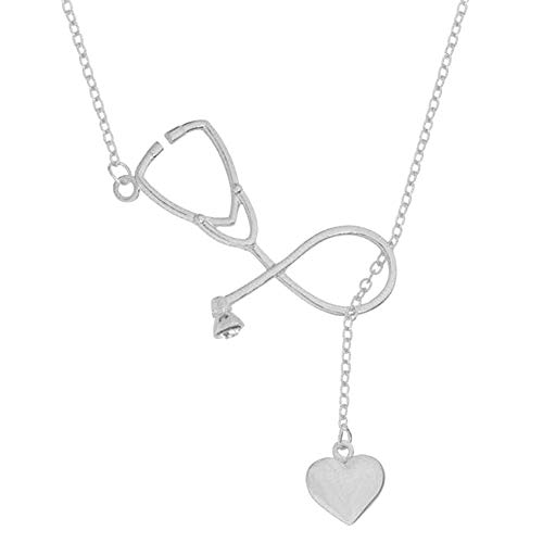 IUaih4vv6 Fashion Trendy Personalidad Necklace Women Stethoscope Heart Pendant Necklace Doctor Nurse Love Gift Silver (Best Stethoscope For Medical Students 2019)