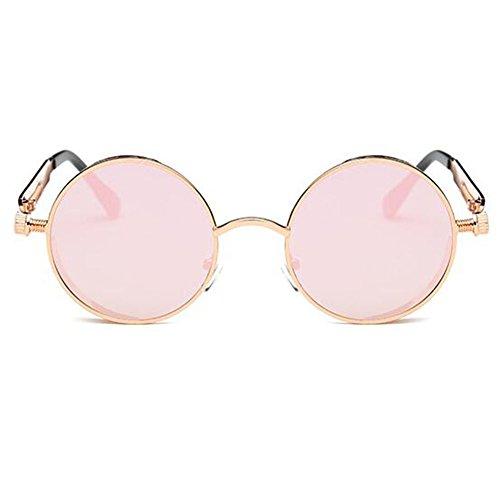 hibote Vintage Rondes Steampunk Lunettes de soleil UV400 Unisex Rose Gold/Barbie rose