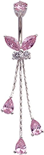 Silver butterfly with a dangly chain drop belly button ring with CZ Pink sapphire crystal - packed in a lovely velvet pouch ()