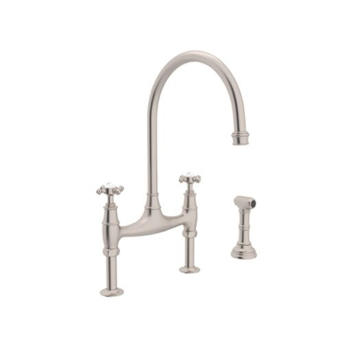 - Rohl U.4718X-STN-2 Perrin and Rowe Deck Mount Bridge Kitchen Faucet with Sidespray with High C Spout and Cross Handles, Satin Nickel