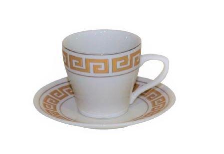 Espresso or Turkish Coffee Set of 6 China Demitasse Cups and Saucers Greek Key Design (Gold) - Tea Hostess Set