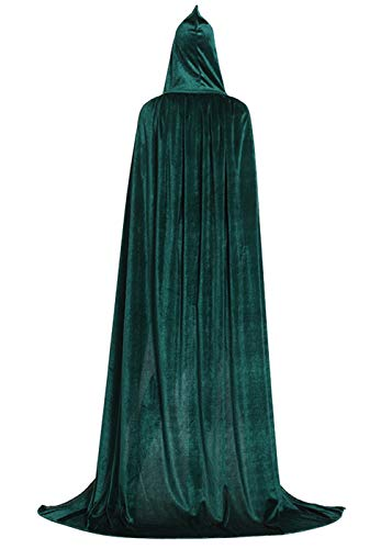 ALIZIWAY Hooded Cloak Full Long Velvet Cape for Halloween Cosplay Costume Cloak Green 07GXL -