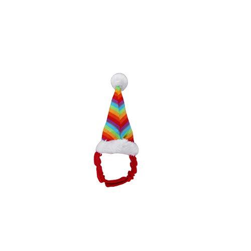 Adjustable Rainbow Pet Dog Cat Christmas Festival Hat Cute Velvet Little Elastic Magic Strap]()