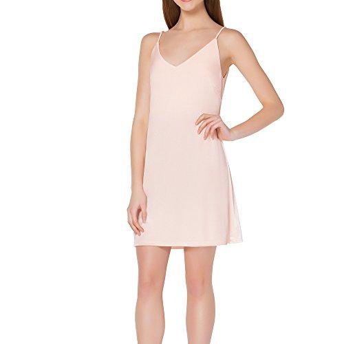 Inspired Slip - Kat & Emma Retro-Inspired Crushed Velvet Stretch Womens Slip Dress (Blush, Medium)